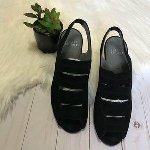 STUART WEITZMAN- Black Suede Sling Back Sandals
